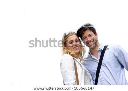 Portrait of cheerful romantic couple - stock photo