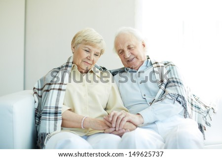 Portrait of cheerful senior couple sitting at home - stock photo