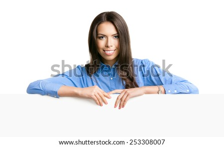Portrait of cheerful smiling young businesswoman showing blank signboard with copyspace for text, isolated over white background - stock photo