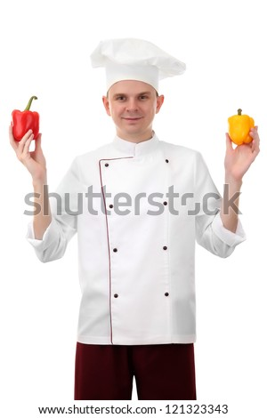 portrait of chef with pepper isolated on white - stock photo
