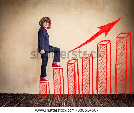 Portrait of child businessman in office. Success, creative and growing business concept - stock photo