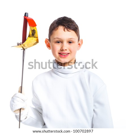 Portrait of child epee fencing lunge. Isolated on white background. - stock photo