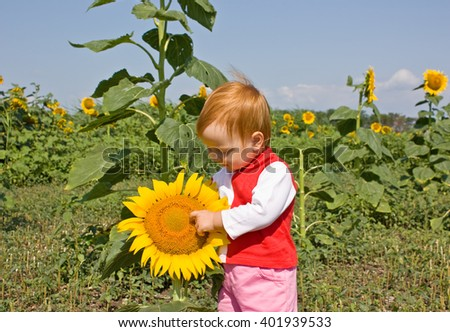 Portrait of child in sunflower field - stock photo