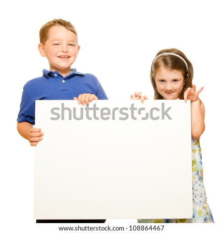 Portrait of children holding blank sign with room for text isolated on white - stock photo