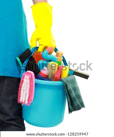 portrait of cleaning equipment isolated over white background - stock photo