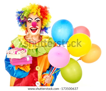 Portrait of clown with balloon. Isolated. - stock photo