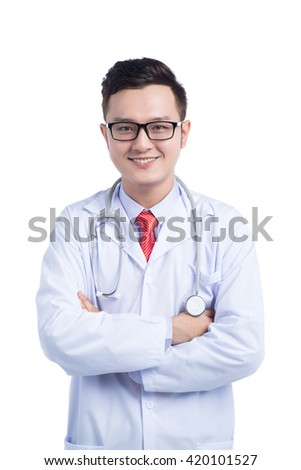 Portrait of confident asian young medical doctor on white background - stock photo