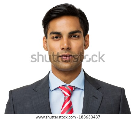 Portrait of confident businessman isolated over white background. Horizontal shot. - stock photo