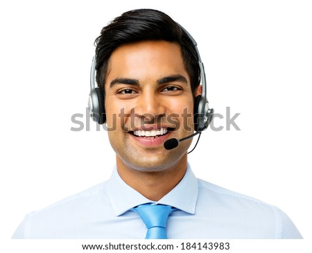 Portrait of confident businessman wearing headset against white background. Horizontal shot. - stock photo