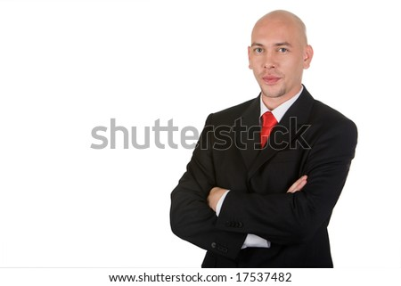 Portrait of confident man in suit isolated over white background - stock photo