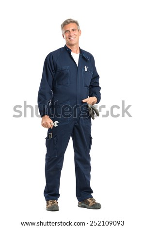 Portrait Of Confident Mature Mechanic With Wrench Looking At Camera Standing Isolated On White Background - stock photo