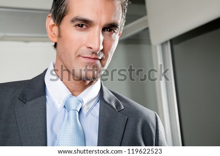 Portrait of confident mid adult businessman at office - stock photo