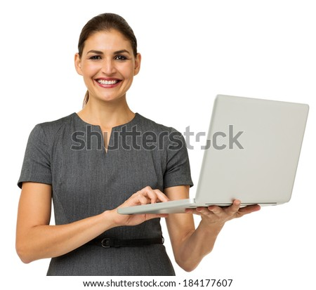 Portrait of confident mid adult businesswoman with laptop isolated over white background. Horizontal shot. - stock photo