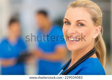 portrait of confident senior medical doctor - stock photo