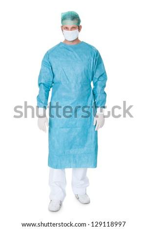 Portrait of confident surgeon. Isolated on white background - stock photo