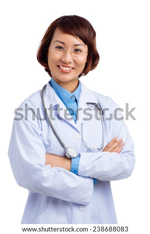 Portrait of confident Vietnamese female doctor looking at the camera - stock photo