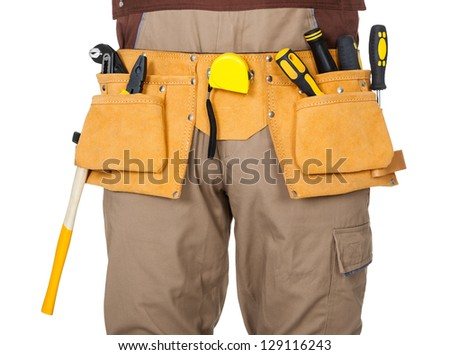 Portrait of construction worker. Isolated on white background - stock photo