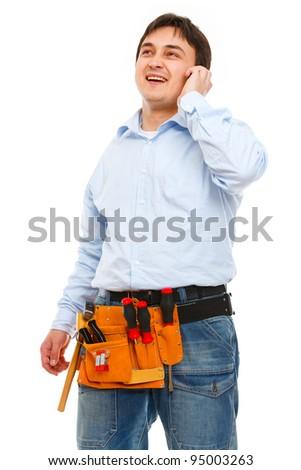 Portrait of construction worker speaking phone - stock photo