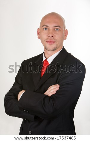 Portrait of contemporary manager looking at camera - stock photo