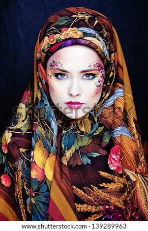portrait of contemporary noblewoman with face art creative - stock photo