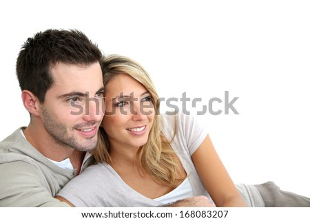 Portrait of couple looking towards their future - stock photo