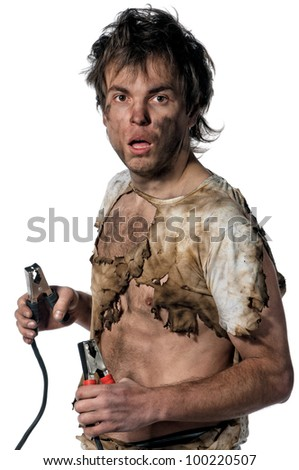 Portrait of crazy electrician over white background - stock photo