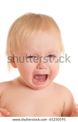 Portrait of crying young sitting baby - stock photo