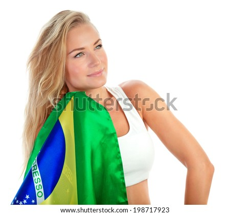Portrait of cute admirer of Brazilian football team with their national flag isolated on white background, football championship concept - stock photo
