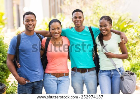portrait of cute african american college friends on campus - stock photo