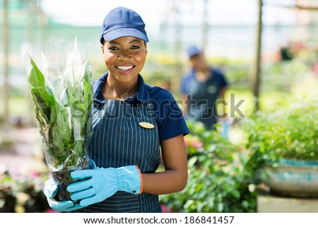 portrait of cute african american female gardener holding a plant - stock photo