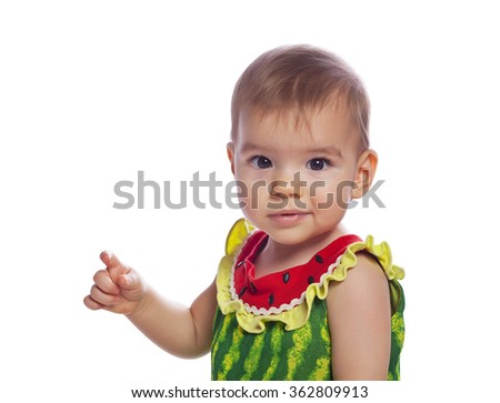 portrait of cute baby girl - stock photo