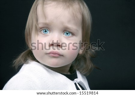 Portrait of cute baby who is a little scared, isolated - stock photo