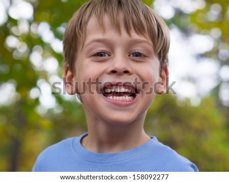 portrait of cute boy - stock photo