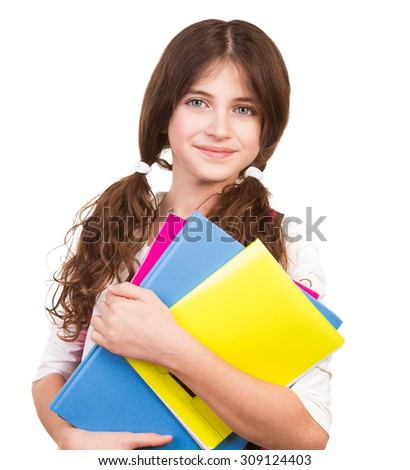Portrait of cute brunette schoolgirl holding in hands three colorful notebooks, isolated on white background, back to school concept - stock photo