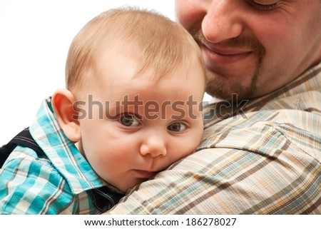portrait of cute caucasian baby - stock photo