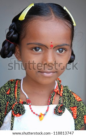 Portrait Of Cute Indian Village Girl - stock photo