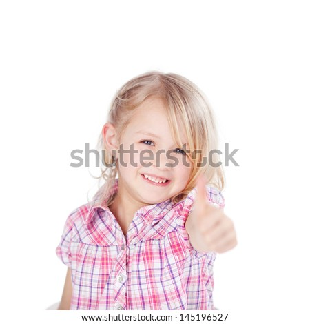 Portrait of cute little girl showing thumbs up sign isolated over white background - stock photo