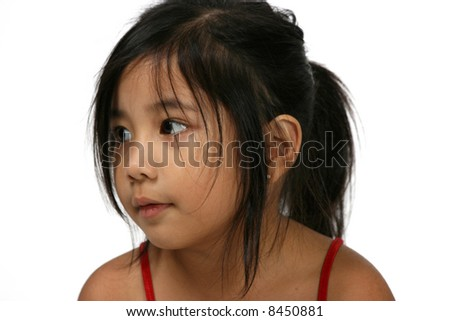 Portrait of cute little girl wit a dreamy look - stock photo
