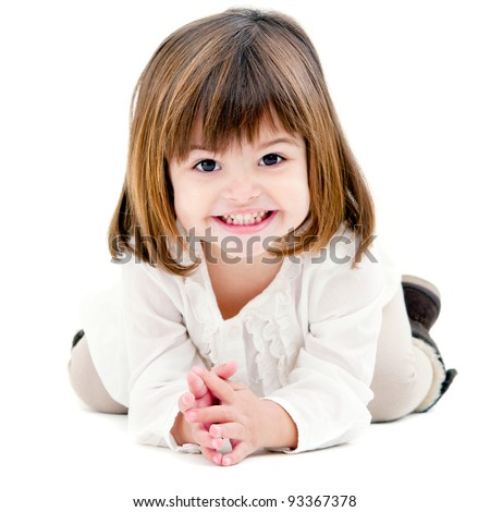 Portrait of cute little girl with toothy smile. Isolated on white background. - stock photo