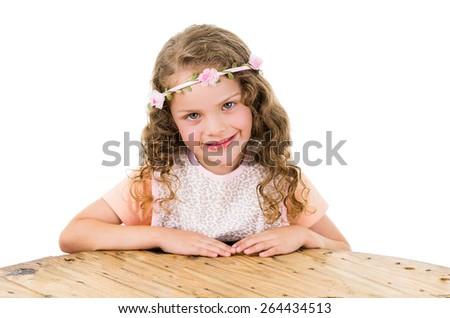portrait of cute little preschooler girl isolated on white - stock photo
