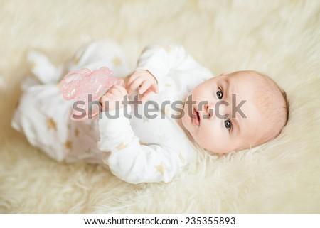 Portrait of cute newborn baby boy - stock photo