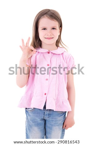 portrait of cute pretty little girl showing ok sign isolated on white background - stock photo