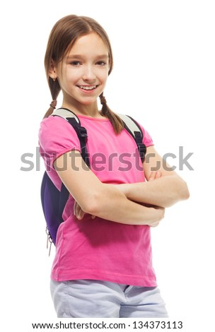 Portrait of cute, smiling, confident 9 years old girl with ponytails, wearing rucksack isolated on white, side view - stock photo