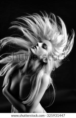Portrait of dancing girl  - stock photo