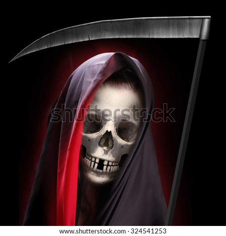Portrait of death. Grim reaper working every day. Illustration for Halloween brochures and advertising.  - stock photo