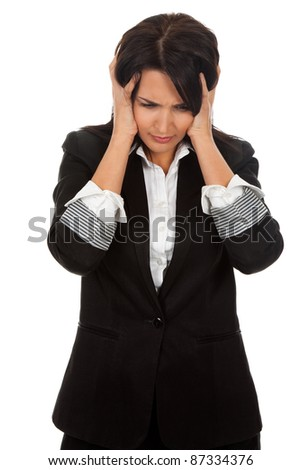 portrait of depressed business woman hold hands on head, isolated over white background - stock photo