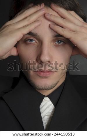 Portrait of depressed man. - stock photo