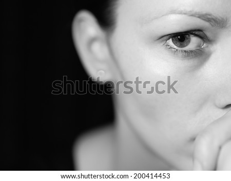 Portrait of depressed young woman. - stock photo
