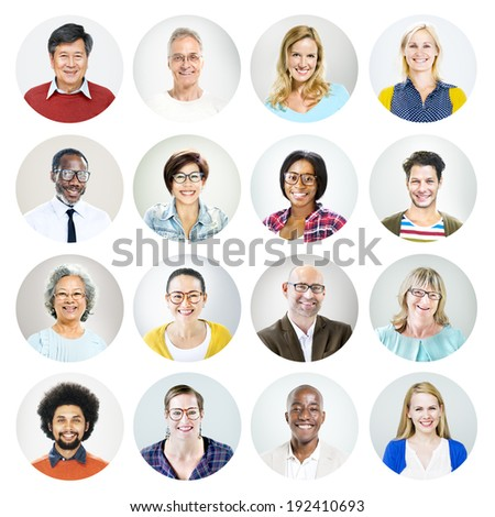Portrait of Diverse Multiethnic Cheerful People - stock photo