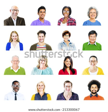 Portrait of Diverse Multiethnic Cheerful People - stock photo
